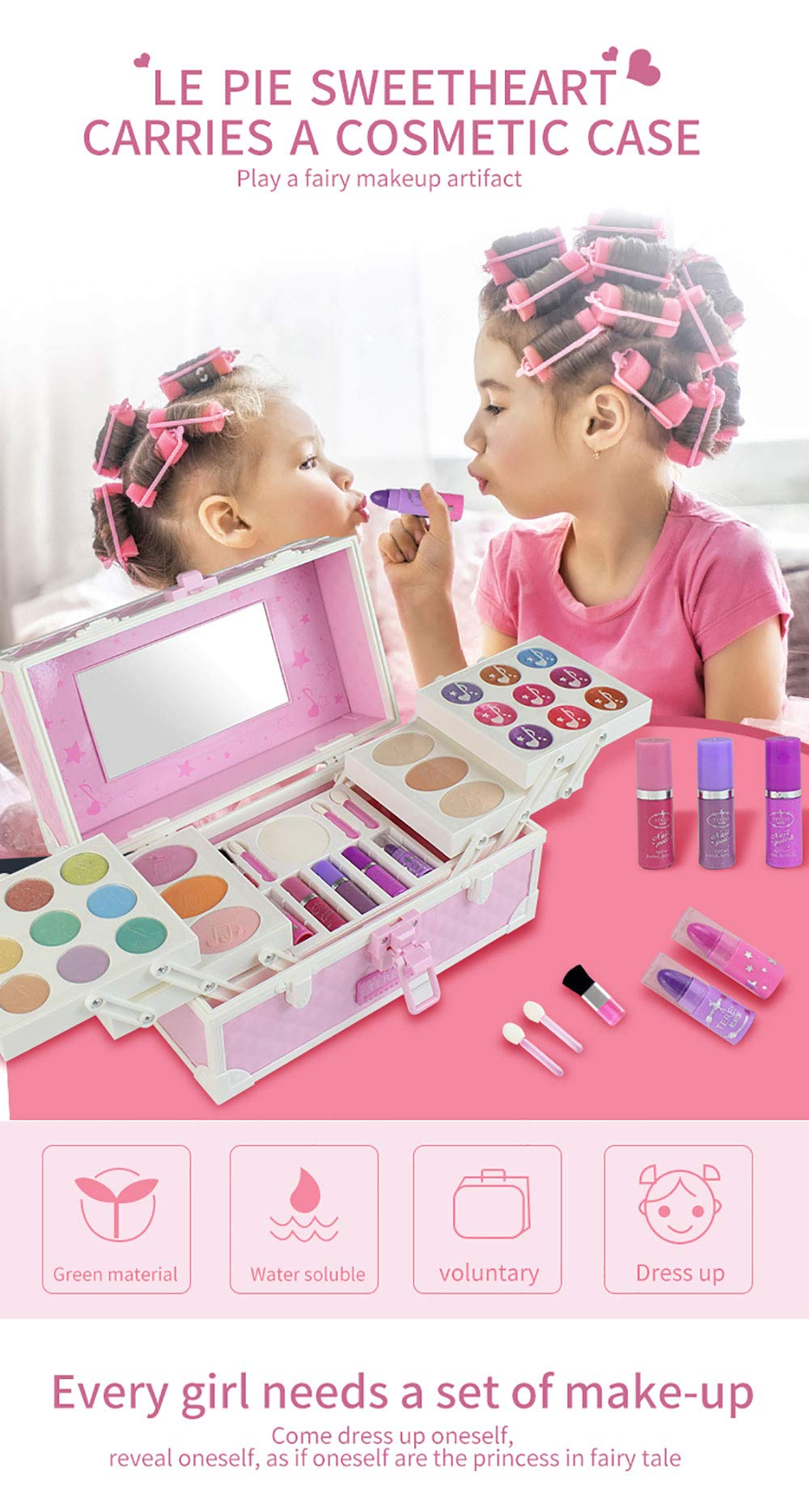 Studyset 22752T Girl Cute Beautiful Cosmetic Case Children Water-Soluble Makeup Cosmetics Pretend Toy