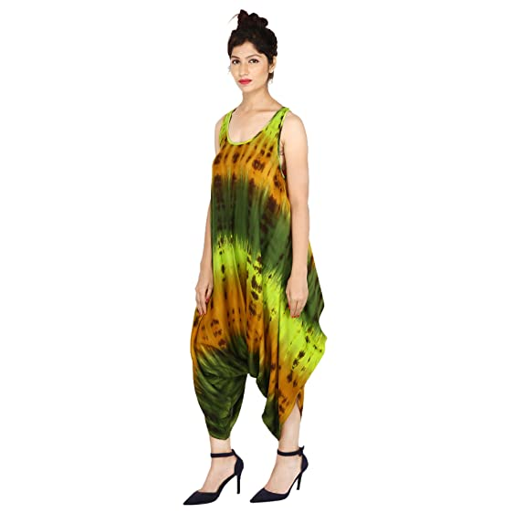 Fashion Farmer S Women Dress Rayon Harem Dress Tie Dye Romper Multi