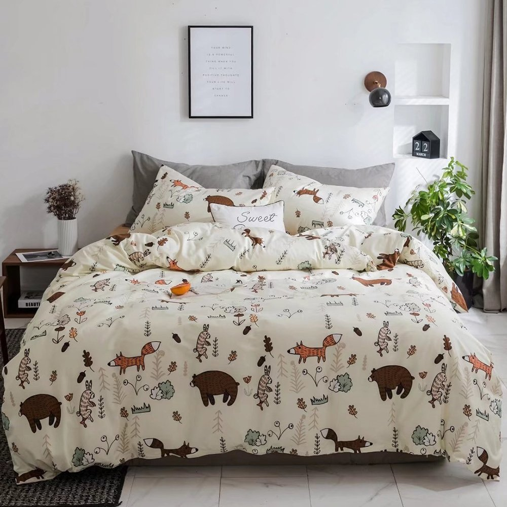 CLOTHKNOW Yellow Bear Bedding Sets for Kids Child Twin Size Duvet Cover Sets Girls Boys Gift Fox Animal Forest Woods 100 Cotton Set of 3-1 Duvet Cover with Zipper Closure 2 Pillowcases NO Comforter by CLOTHKNOW (Image #2)