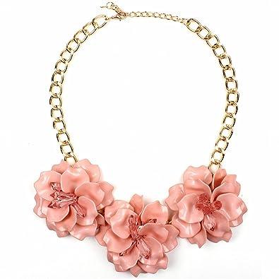 Amazon claire jin acrylic crystal three flower necklace women claire jin acrylic crystal three flower necklace women jewelry fashion short choker party big flowers mightylinksfo