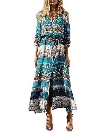 d7d84dcaa54c4a Boho Maxikleid Blumen Lange Sommerkleider Damen Maxi Strandkleid Casual  Langarm V-Ausschnitt Kleid: Amazon.de: Bekleidung