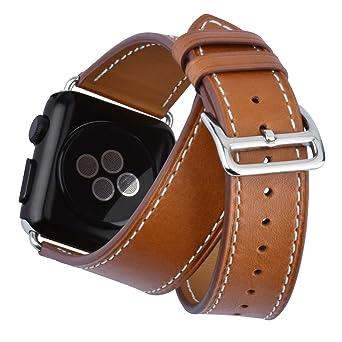 achat original prix spécial pour prix incroyable Bracelet Cuir Montre Homme KZKR 42mm Montre Bracelet en Cuir Marron Double  Cercle Bracelet Cuir pour l'Apple Watch pour Montres Intelligentes ...