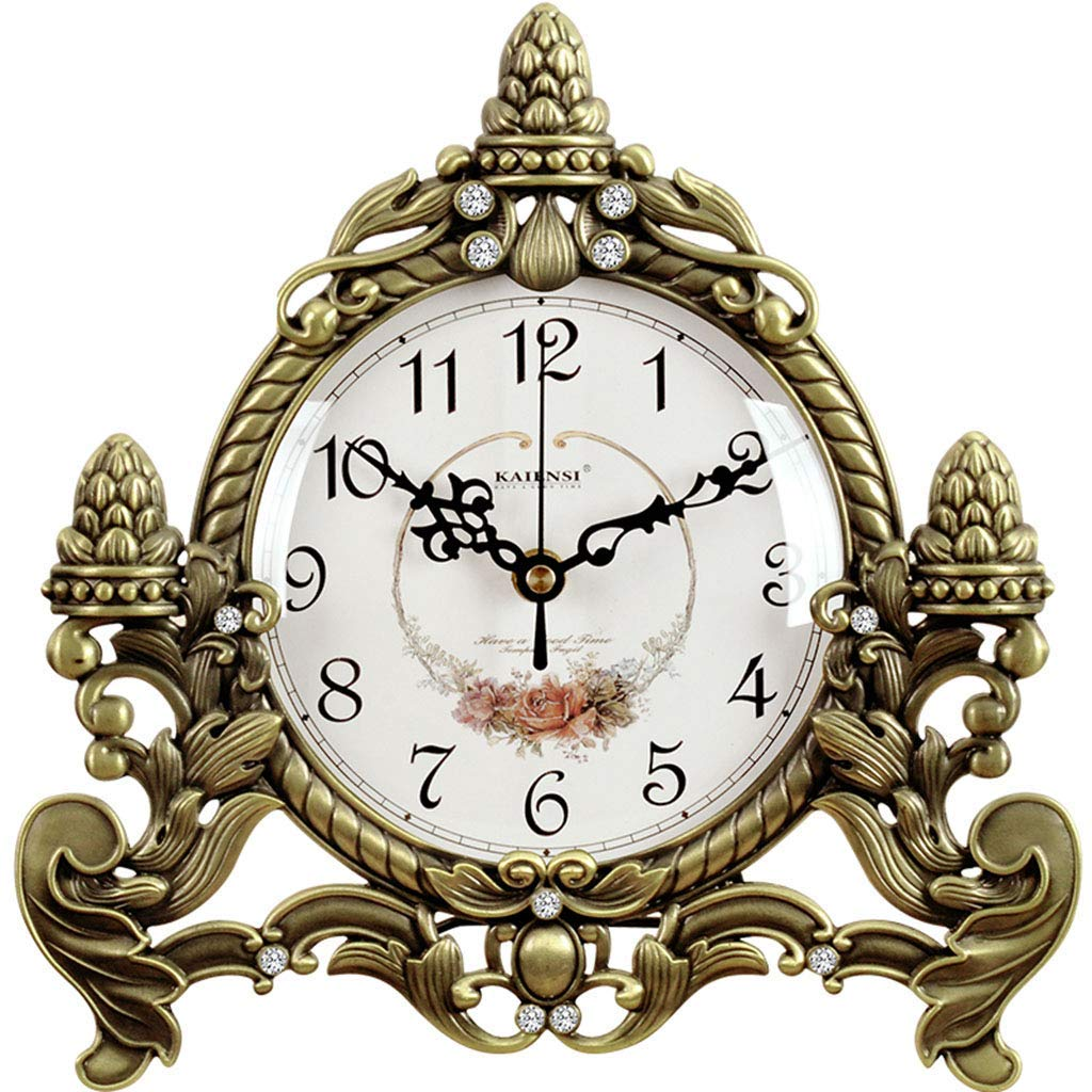 デスククロックファミリークロックヨーロッパレトロ銅置時計クリエイティブノンチックサイレントデスク装飾時計リビングルームの寝室のオフィスに適して(色:色#1) B07THHC3BM Color#1