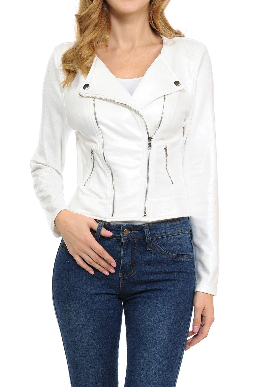 Keebon Womens Modern Casual Asymmetrical Long Sleeve Zip Up Moto Jacket FL White Large