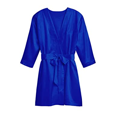 Womens Soft Silky Kimono Robe with Customizable Personal Monogram, French Blue (Small/Medium