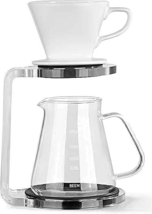 Beem - Cafetera de émbolo (5 tazas, 3 piezas, filtro de mano de cerámica apto para lavavajillas, tamaño 2, jarra de cristal de 0,65 L, estructura de cristal acrílico con base de silicona): Amazon.es: Hogar