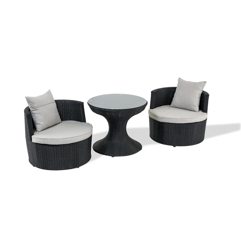 Bistro-Set rund, schwarz, 3-tlg inkl. graue Auflagen