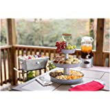Enameled Galvanized 3 Tier Collapsible Server with Wood Handle & Food Safe Steel (Gray)