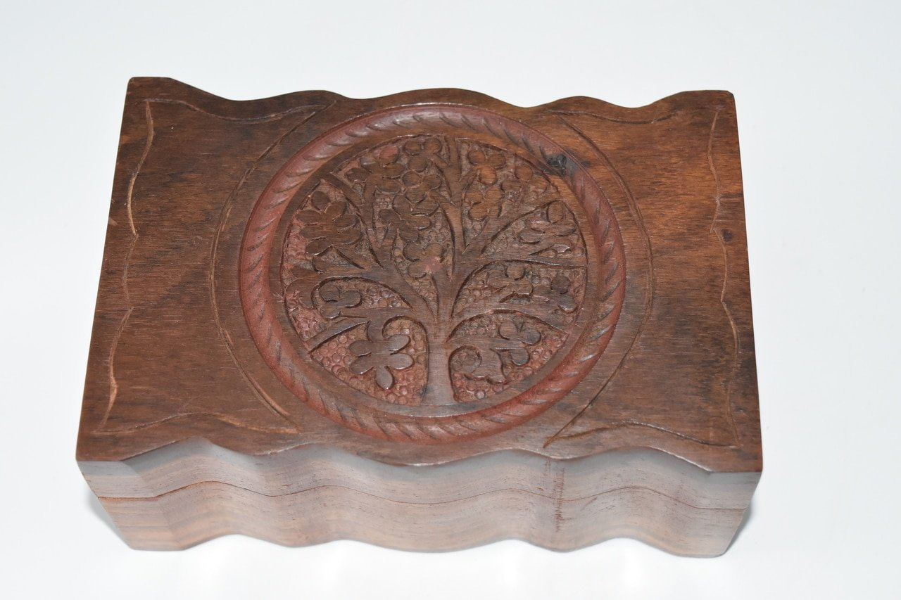 Nature's Enlightenment Tree of Life Carved Wooden Box- Tarot Cards, Crystals, Altar Supplies, Healing, Meditation, Gift Giving