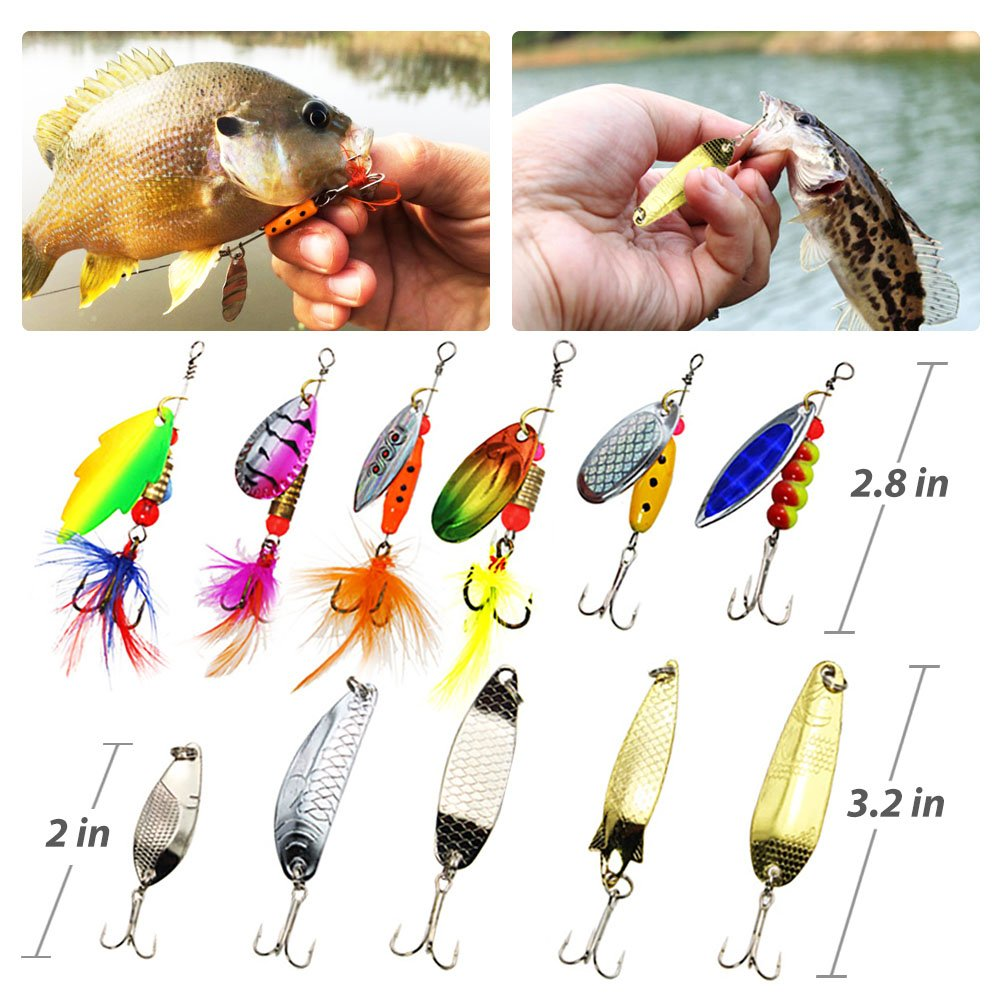 Lotfancy Fishing Lures Tackle Baits Kit With Spoon Lure Spinner Bait Metal 10 Pcs Plus Box Crankbaits Rooster Tail Spoons Topwaterinline