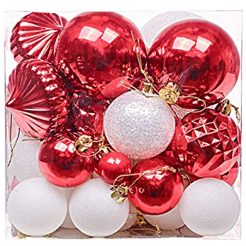 Christbaumkugeln Kunststoff Weiß.Valery Madelyn 50 Stücke 3 8cm Weihnachtskugeln Kunststoff Weiß Rot Christbaumkugeln Set Mit Aufhänger Weihnachtsbaumschmuck Weihnachtsdekoration
