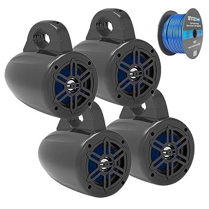 Black MCM Custom Audio 60-10031 8 Marine Wakeboard Two-Way Speaker Pair