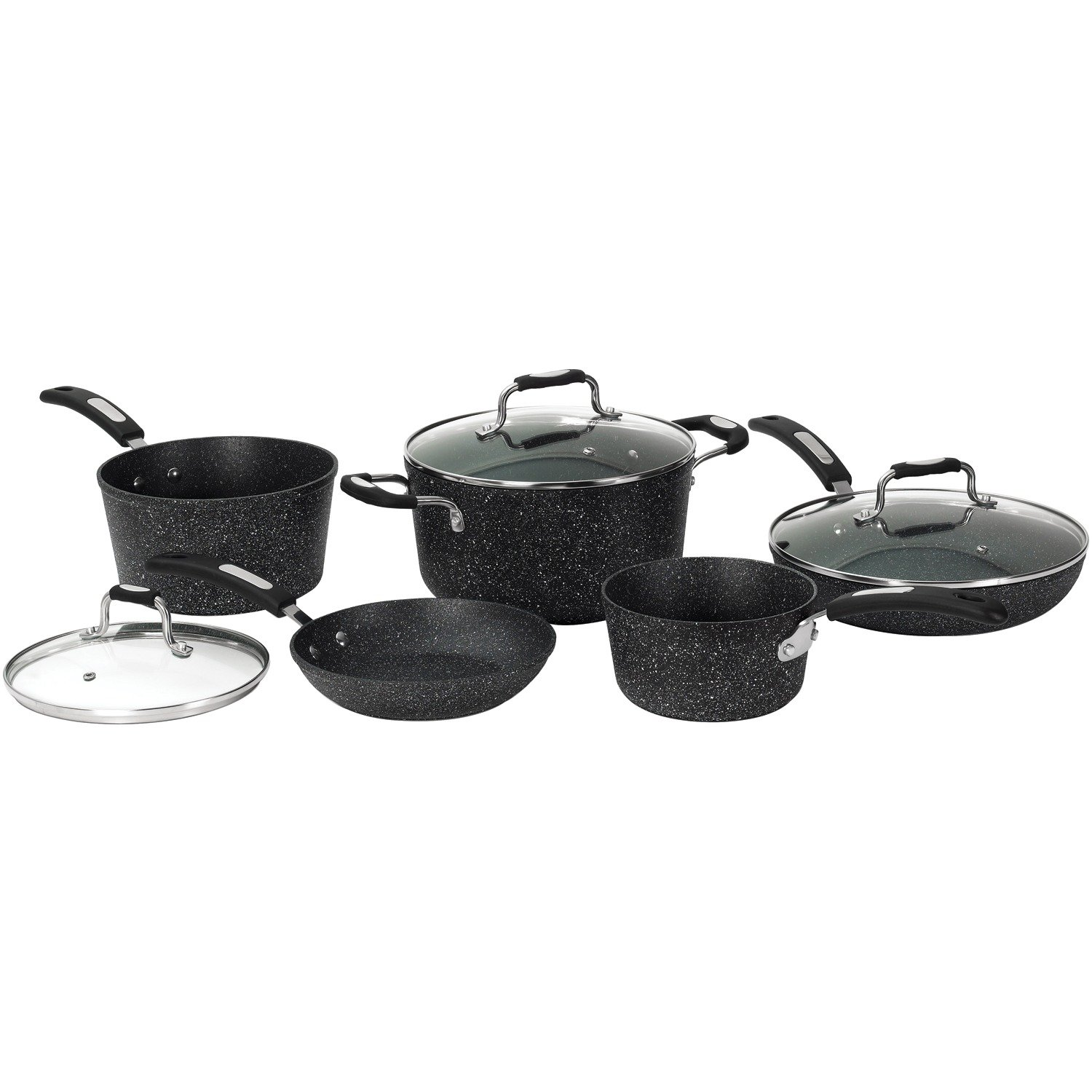 Starfrit The Rock 030930 8 Piece Forged Aluminum Cookware Set with Bakelite Handle 030930-001-0000