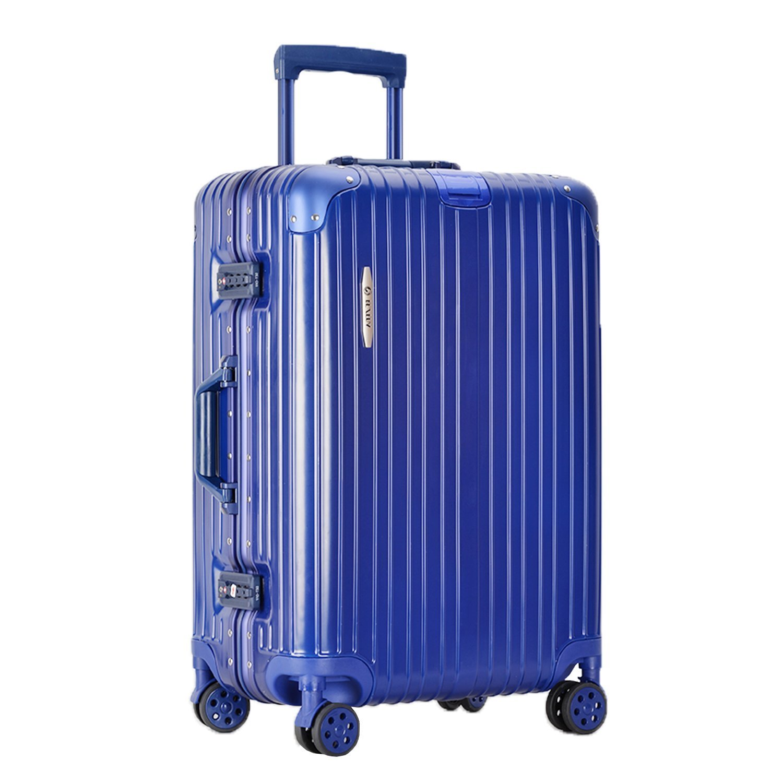 [RESENA] スーツケース アルミフレーム TSAロック搭載 大容量 軽量 8輪360度自由回転の静音キャスター 人気 キャリーケース 多色選択可能 フック付き B07DG2V8TG  ネイビー Mサイズ(24寸)