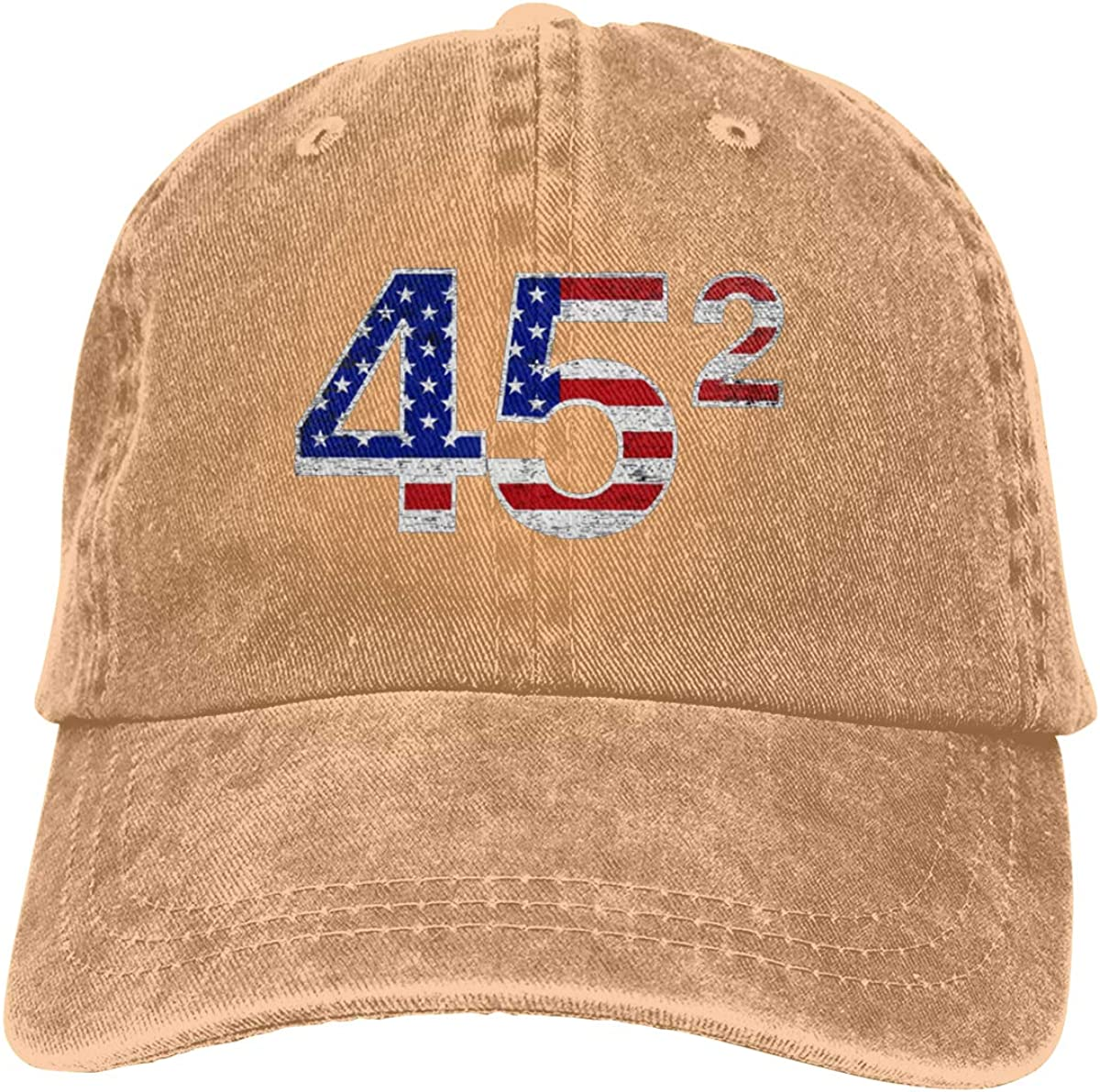 Trump 45 Squared 2 Term Presidency Brag Badge Unisex Adult Denim Hats Cowboy Hat Dad Hat Driver Cap