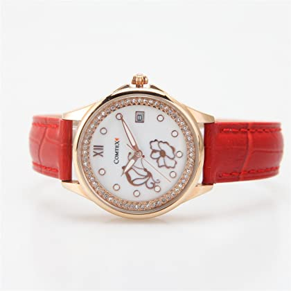 Comtex Women's Wrist Watches with Red Leather Rose Gold Case Pattern with