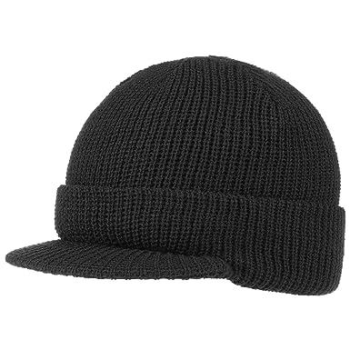 2bc6ecc38ce Hatshopping Cap Styler Peaked Beanie hat Knit (One Size - Black)  Amazon.co. uk  Clothing