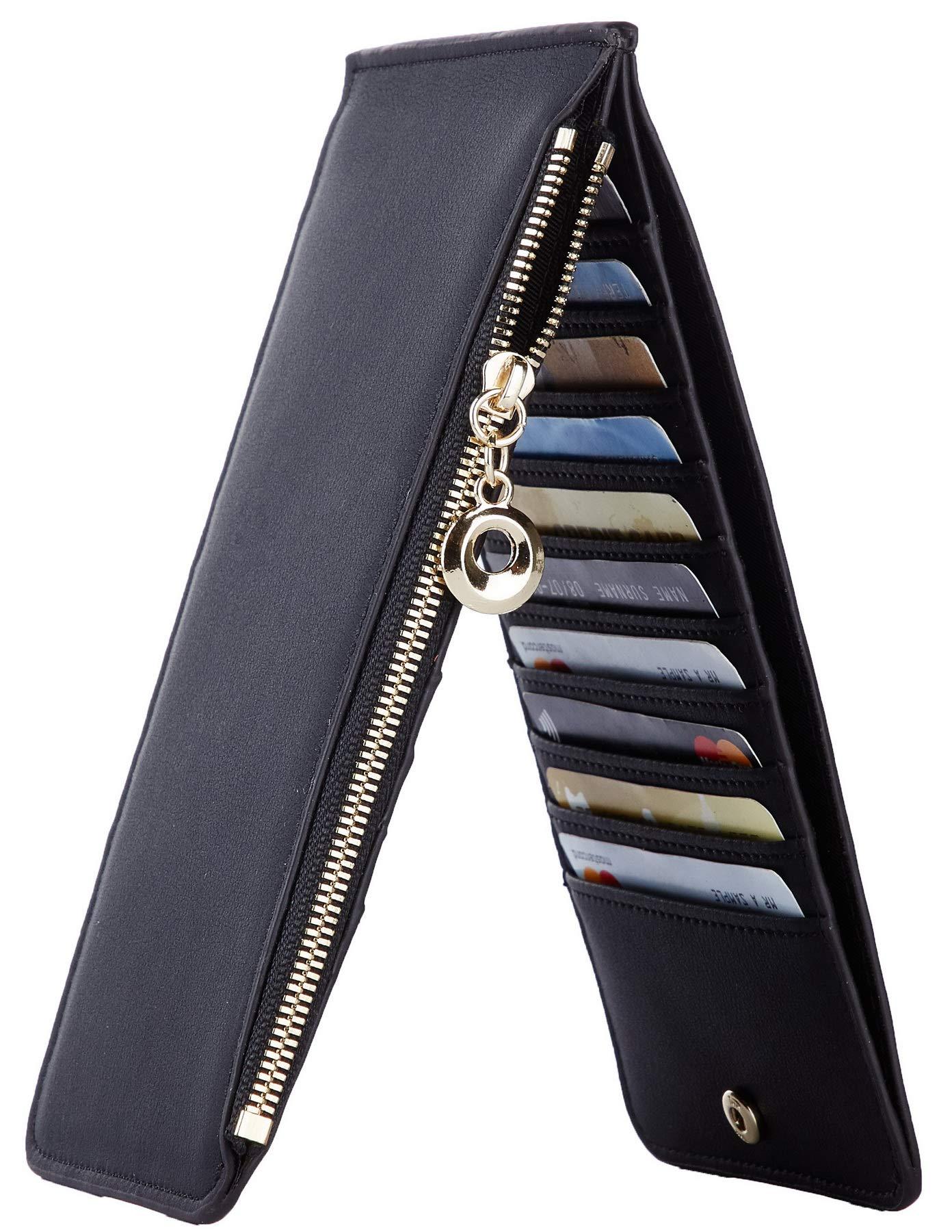 Toughergun Womens RFID Blocking Genuine Leather Multi Card Organizer Wallet with Zipper Pocket(Chic Black) by Toughergun
