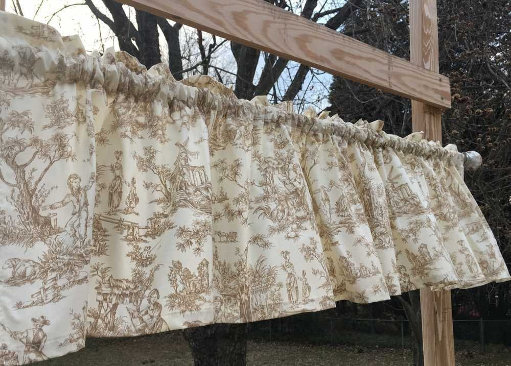 Romantic Toile Dance Churn Rooster Goat Family LIfe Brown Cream Handcrafted Custom Sewn Curtain Valance NEW w10/15