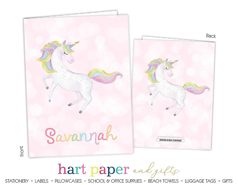 Rainbow Unicorn 2 Pocket Folder Gift Name Back to School Supplies Teacher Office Birthday Girl Kids Custom Personalized Custom
