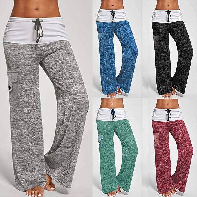 DAY8 Pantaloni Donna Larghi Morbidi Yoga Pantalone Sportivo Donna Largo Pantaloni Donna Taglie Forti con Elastico in Vita Curvy con Tasca Sudare Allenamento Palestra Jogging