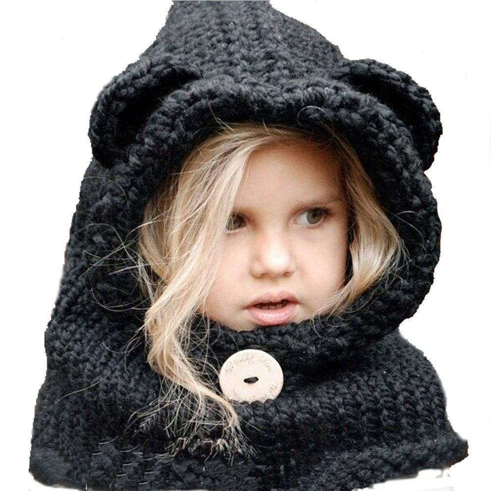 Baby Girl Boy Pom Pom Knitted Beanie Panda Hat Cap 4 mon-5 yrs Yellow US Stock