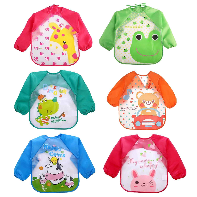 Waterproof Sleeved Bib, 6pcs Assorted Styles Cute Cartoon Waterproof EVA Baby Feeding Clothing Infant Smock Apron Bibs with Long Sleeves for 1-5 Years Old Baby Gosearca