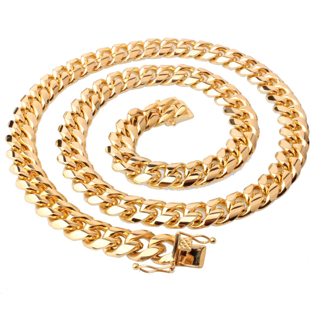 MUYING JEWELRY Miami Cuban Curb Link Chain 18K Gold 14mm Stainless Steel Necklace Or Bracelet for Men Unisex 7-38