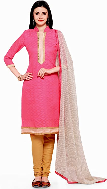 EthnicJunction Women's Cotton, Jacquard Straight Fit Unstitched Dress Material (Red , Pink) Dress Material at amazon
