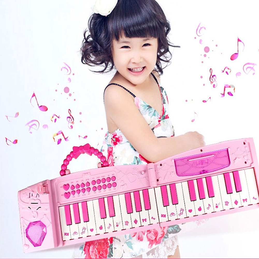 WISHTIME Kids Karaoke Music Piano Toys Folded Multifunction 37 Keys Keyboard Piano Instrument for 3+ Girls with Real Working Microphone and Colorful Light MP3 Record Sing Pink Chritsmas Gift Juding ZM17035