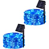 JMEXSUSS 2 Pack 8 Modes 100 LED 32.8ft Solar Powered Waterproof Fairy String Copper Wire Lights for Christmas, Bedroom, Patio, Wedding, Party (Blue)