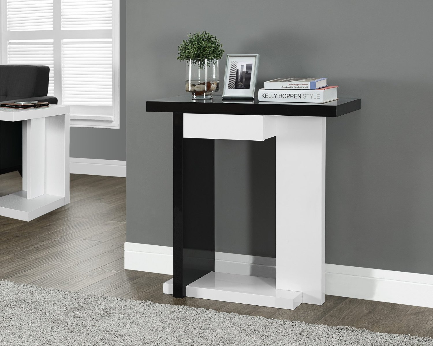 Amazoncom Glossy WhiteBlack Hall Console Accent Sofa Table with