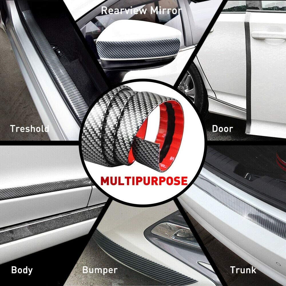 Universel 2M Autocollant de Porte de Voiture en Fibre de Carbone Seuil Protecteur Anti-/éraflure Autocollant pour Voiture SUV Camionnette