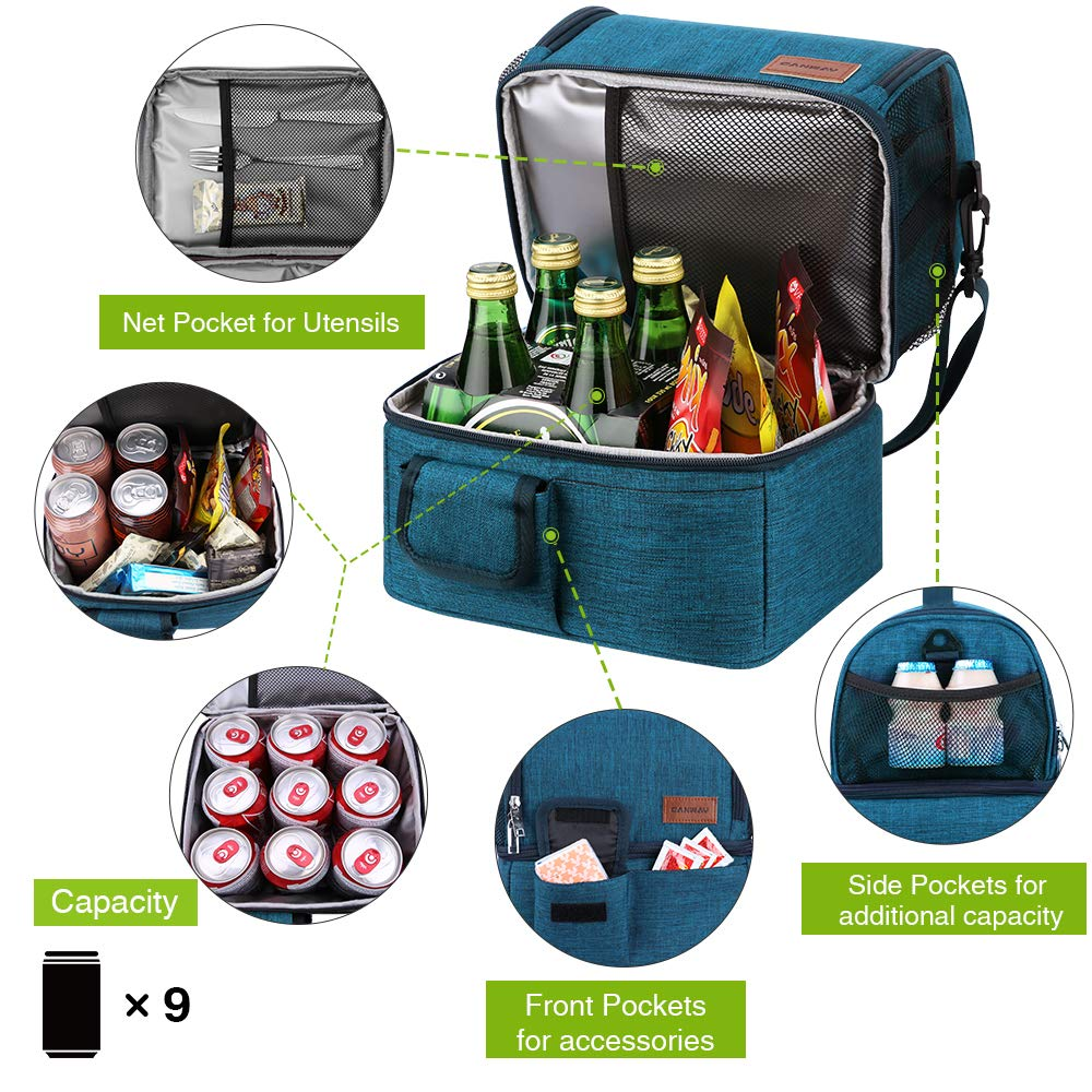 Blue Women for Office//Picnic//Travel//Camping Dual Compartment Lunch Tote Box Leak-proof Bento Organizer Insulated Lunch Bag Double Deck Cooler for Men