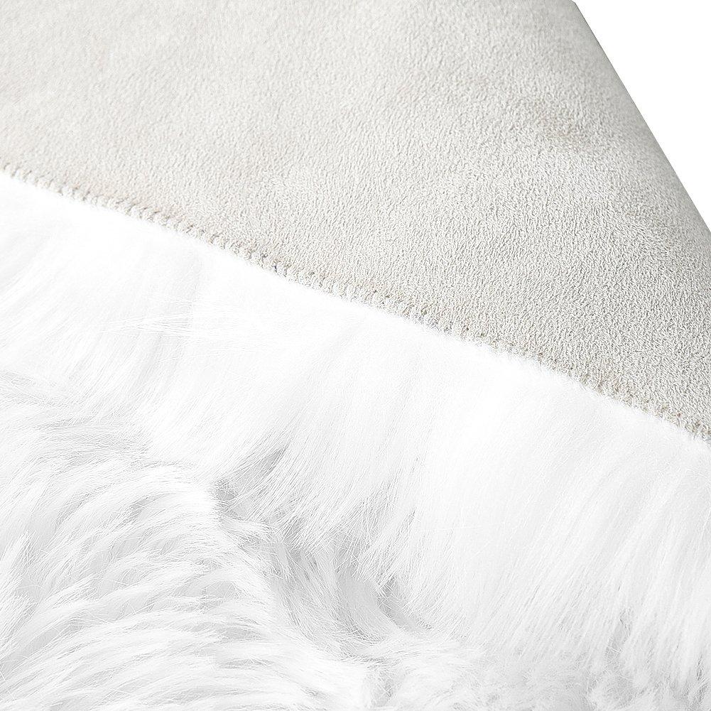 LOCHAS Stylish Fluffy Rug White Faux Fur Sheepskin Area Rugs for Bedroom, Soft Furry Rugs Bedside Living Room Carpet Nursery, 4x6 Feet by LOCHAS (Image #4)