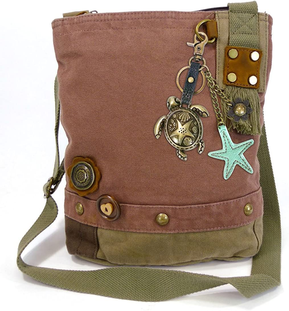 Chala Canvas xBody Messenger Bags with Detachable Metal Sea Turtle Purse Charm