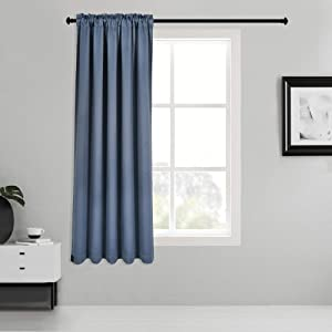 Inherent Flame Retardant Blackout Rod Pocket Curtains Fire Resistant Room Darkening Thermal Insulated Drapes for Bedroom Living Room School Office Nursery Theater Hospital 1 Panel Dusty Blue 38Wx54L