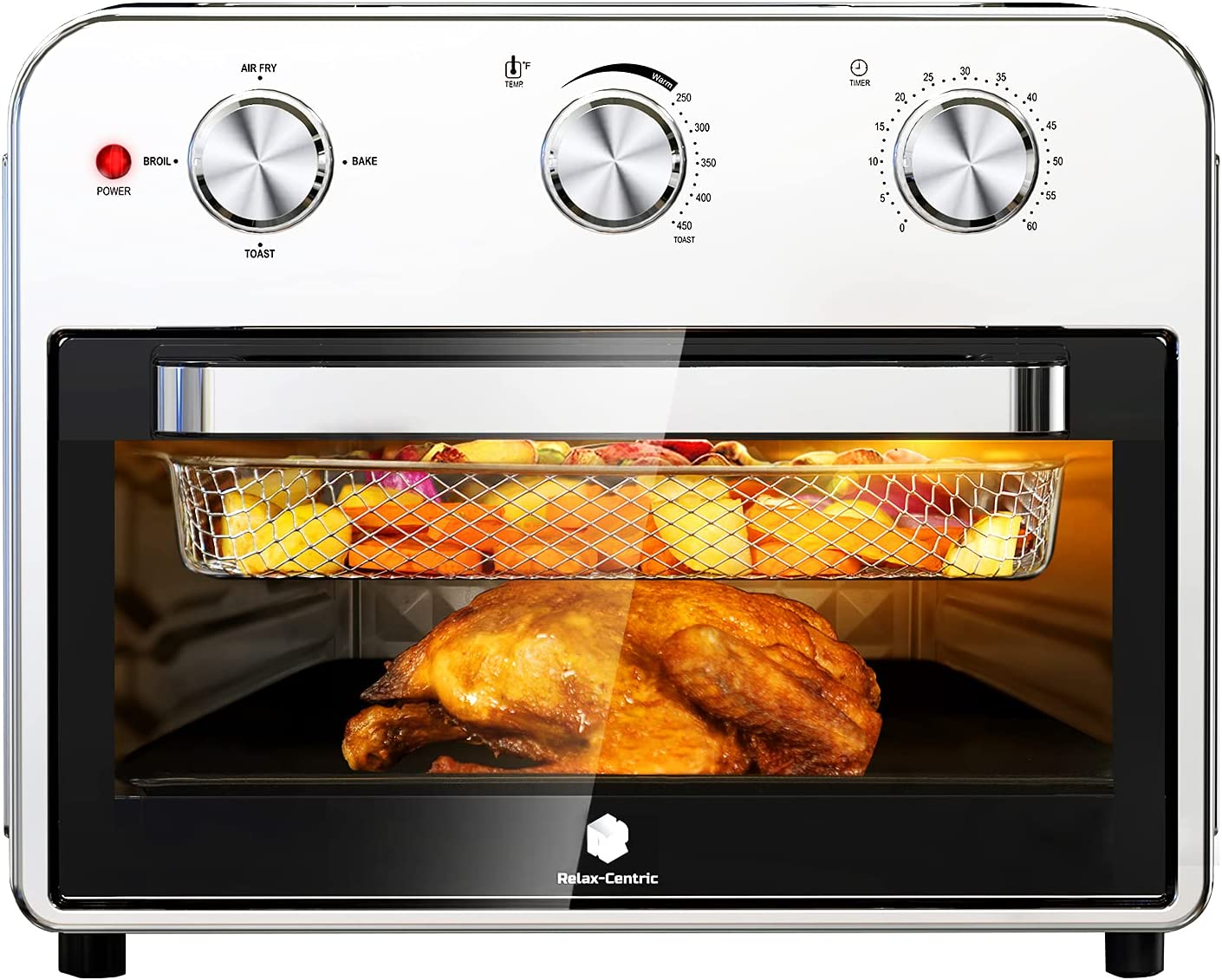 Relax-Centric Air Fryer Toaster Oven, 21 Quart Large Convection Toaster Oven Countertop Stainless Steel Finish, Air Fry, Roast, Toast, Broil, Bake, Reheat, Pizza, cinnabon & Bagel, 1800 Watts Toaster Oven Air Fryer Combo