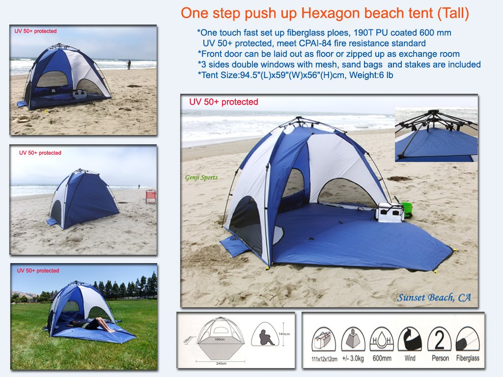 Amazon.com  Genji Sports One-Step Instant Push Up Hexagon Beach Tent (Tall)  Genji Pop Up Beach Tent  Sports u0026 Outdoors  sc 1 st  Amazon.com & Amazon.com : Genji Sports One-Step Instant Push Up Hexagon Beach ...