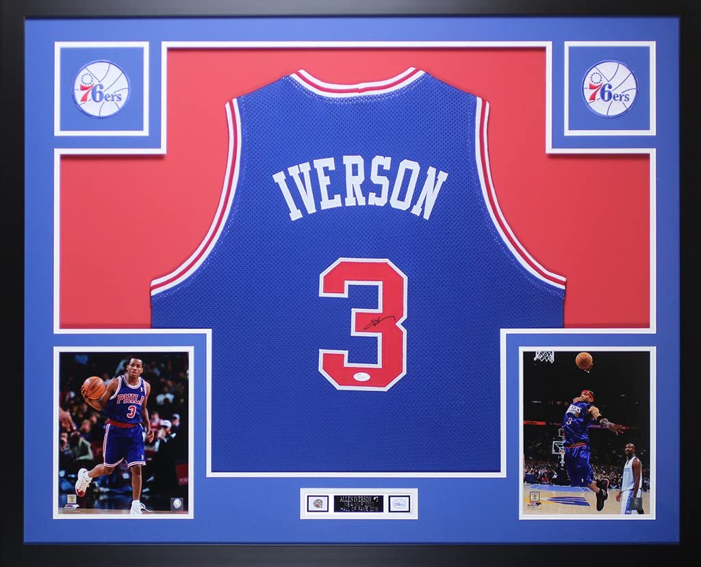 Allen Iverson Autographed Blue Philadelphia 76ers Jersey - Beautifully Matted and Framed - Hand Signed By Allen Iverson and Certified by JSA - ...