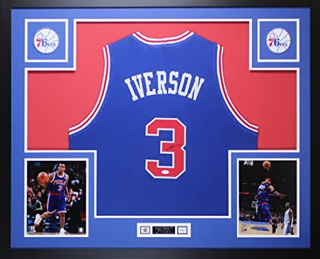 58f47029c3a Allen Iverson Autographed Blue Philadelphia 76ers Jersey - Beautifully  Matted and Framed - Hand Signed By
