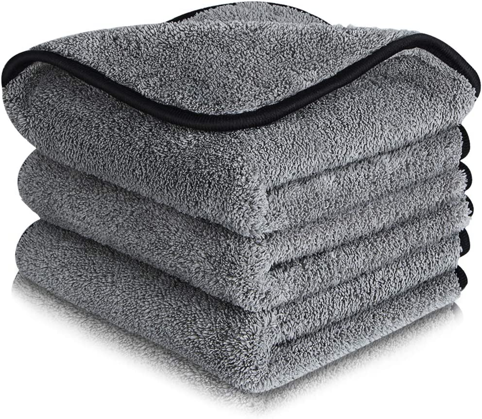 3Pcs Microfiber Cleaning Cloths Microfiber Super Absorbent Double-layer Auto Towel Cloth Car Polishing and Drying Cloth Fixget Car Cleaning Cloths 1