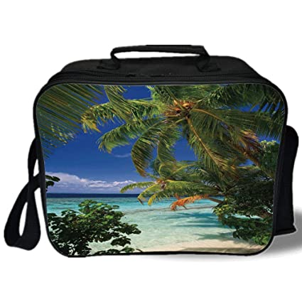 Amazon com: Plant 3D Print Insulated Lunch Bag, Tropical Paradise at