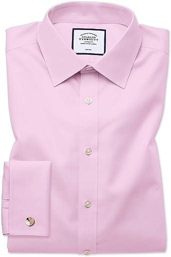 Charles Tyrwhitt Camisa sin Plancha Rosa de Sarga Slim fit sin Plancha: Amazon.es: Ropa y accesorios