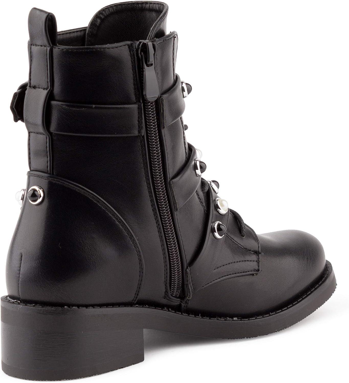 Fusskleidung Damen Stiefeletten Biker Boots Nieten Stiefel