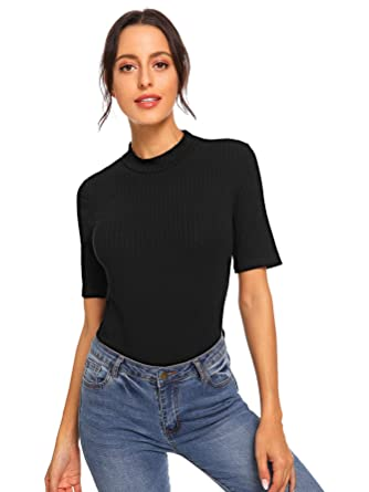 54d7ed7a651 SheIn Women's Mock Neck Half Sleeve Slim Fit Ribbed Knit Tee T-Shirts X-