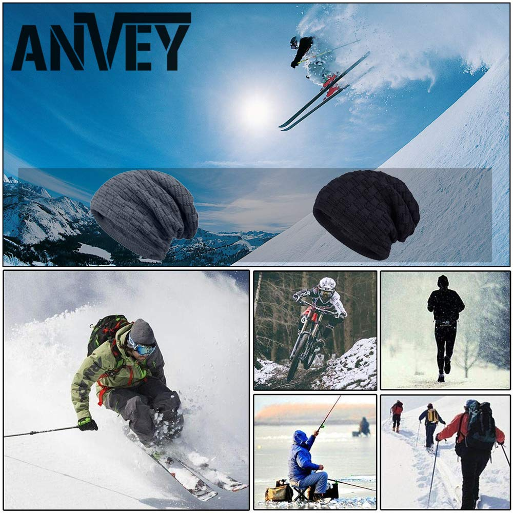 ANVEY Gorro de invierno tipo slouch beanie de punto cesta con suave interior  de forro polar 39298131328