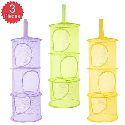 Hanging Mesh Storage Toys Organizer 3 Tier Underwear Sock Tidy Pocket Yellow
