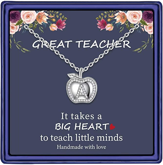 Teacher Appreciation Pendant Necklace Red Apple on Chalkboard Design Art Best Teacher Glass Dome and Brass Pendant Jewelry Gift for Her