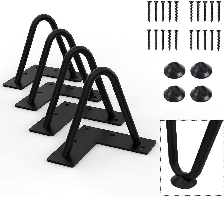 "Orgerphy 4"" Black Heavy-Duty Hairpin Coffee Table Legs (4PCS)   Diameter 3/8""   with Screws and 4pcs Bonus Rubber Floor Protectors   Mid Century Modern Metal Legs Desk Legs Furniture Legs for DIYers"